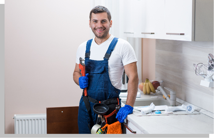 Plumber with a wrench